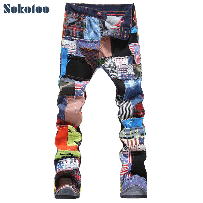 Sokotoo retalhos masculinos emendados jeans jeans rasgados moda masculina magro colorido remendo botões voar calças retas frete grátis