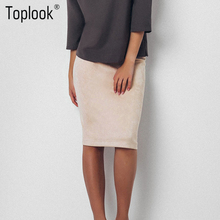 Knee Length Pencil Suede Skirt
