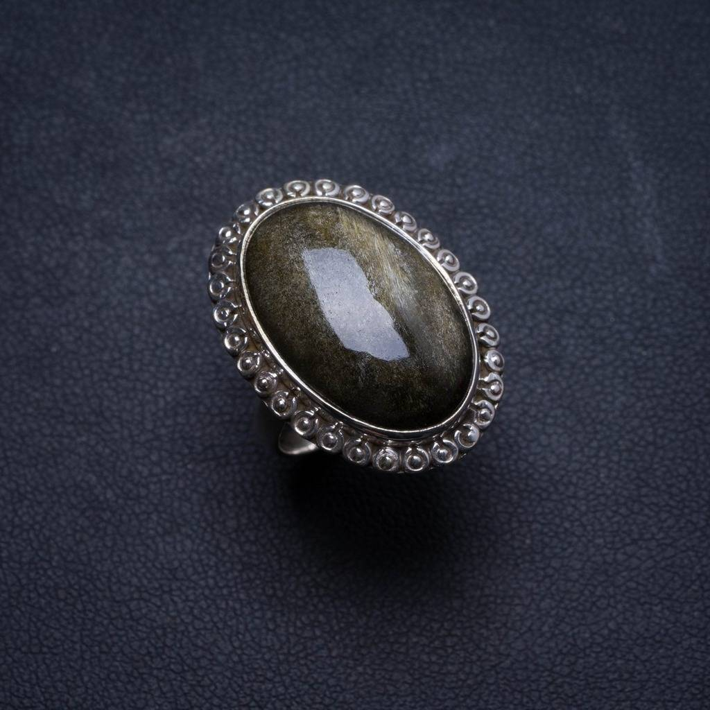 Natural Black Cat Eye Handmade Unique 925 Sterling Silver Ring, US size 7 X1654 black diamond cat hair ring