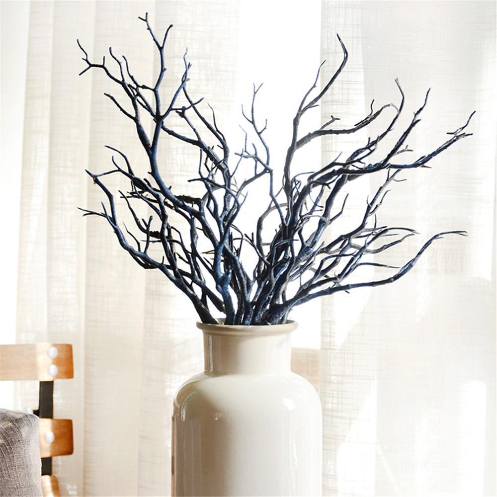 2pcs Manzanita Dry Artificial Fake Foliage Plant Tree Branch Wedding Home Church Office Furniture Green White 36cm