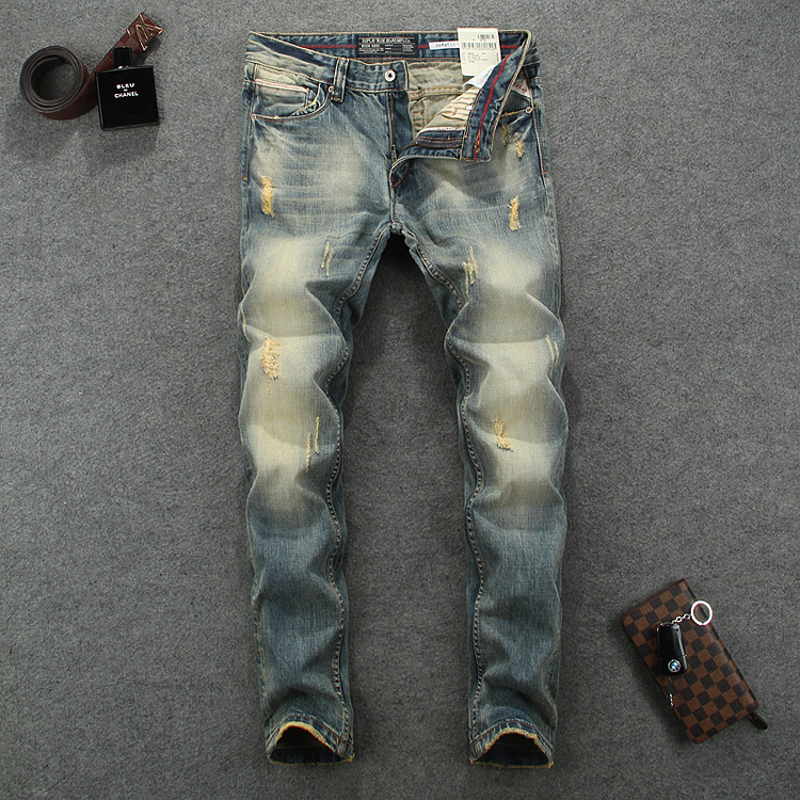 Italian Vintage Designer Men Jeans High Quality Cotton Slim Fit Ripped Jeans Homme Pants Brand Jeans Men Classical Simple Jeans
