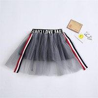 Korean Style Kids Girls Tutu Skirt Striped Letters Patchwork Pettiskirt Princess Girls Fluffy Skirt Prom Dance
