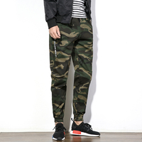 Nova chegada calças de camuflagem dos homens com cordão calças dos homens de carga calças de algodão masculina slim fit casual mens corredores hip hop estilo