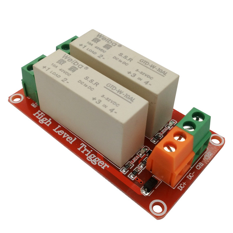 2 channel high-level trigger solid-state relay module 10A high current control DC solid state relay 3-32VDC wide voltage 8 channel 5a high level trigger solid state relay module board 3 32v power supply and trigger voltage