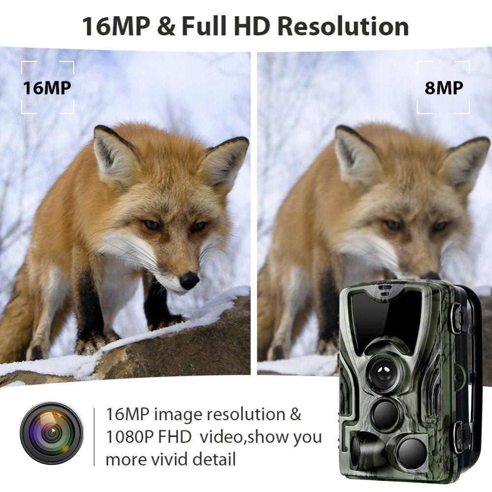 Caméra de chasse avec batterie au Lithium 5000 Mah 16MP HC801 1080 P IP65 étanche Photo pièges 0.3 s Surveillance sauvage - 4