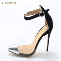 ALMUDENA Elegant Thin High Heel Shoes Silver Pointed Toe Dress Pumps PVC Gladiator Patchwork Shoes Ankle