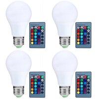 Uncleahtoh 4PCS LOT RGB LED Light Bulb 16 Colors Changing Magic Lamp 3W E26 E27 Base