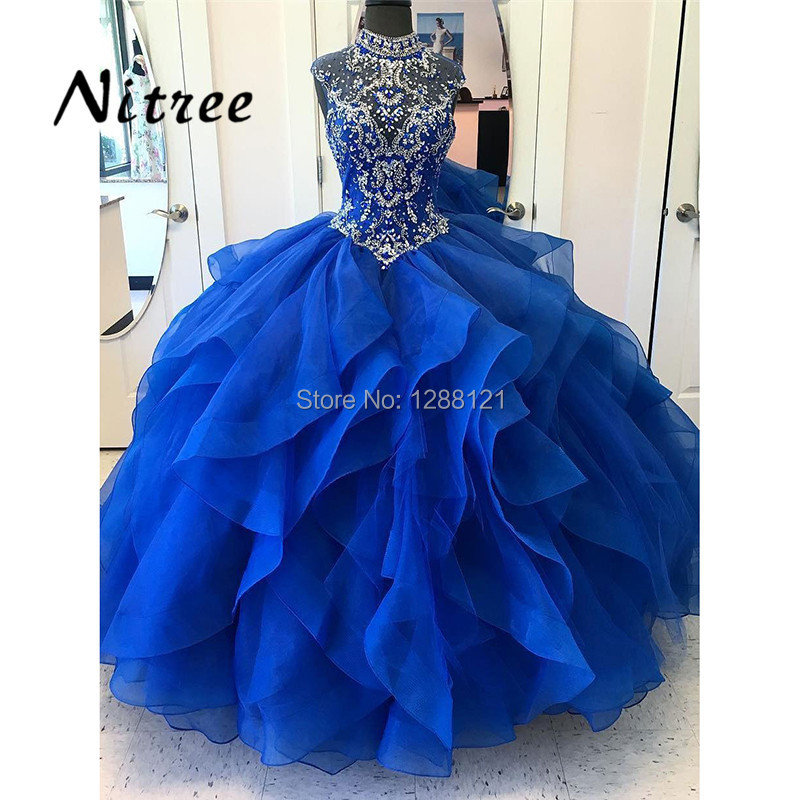 Royal Blue Beading Quinceanera Dresses Dubai Turkish Ball Gown Sweet 16 Prom Gowns Formal Party Dress 2018 Vestidos De 15 Anos