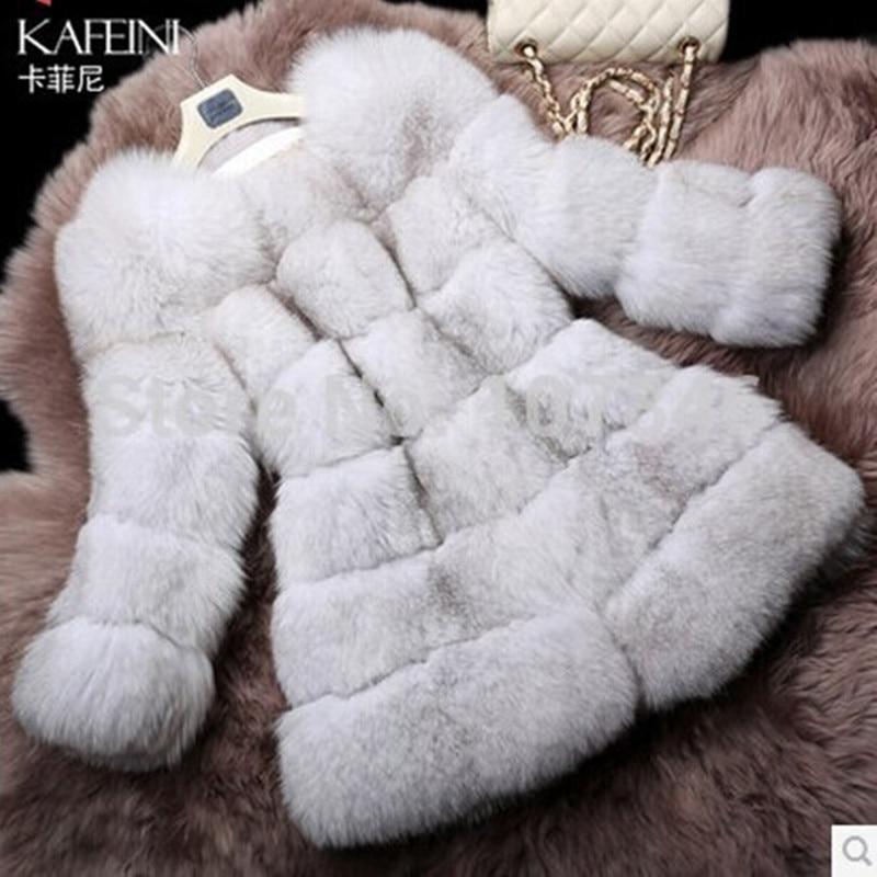Luxury Lady Genuine Natural Fox Fur Coat Jacket O-Neck Winter Women Fur Trench Outerwear Coats Overcoat VK1482