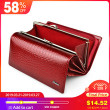 Купить с кэшбэком HH 2017 New Arrival High Quality Patent Leather Women Wallets for Cell phone Hasp Zipper Purse Alligator Clutch Bags
