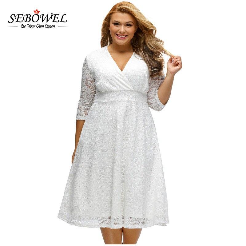 d2972f23b26 SEBOWEL Elegant Plus Size Dress Women Surplice Lace Formal Long Party Dress  Large Laides White V neck Vintage Lace Vestido XXXL-in Dresses from Women s  ...