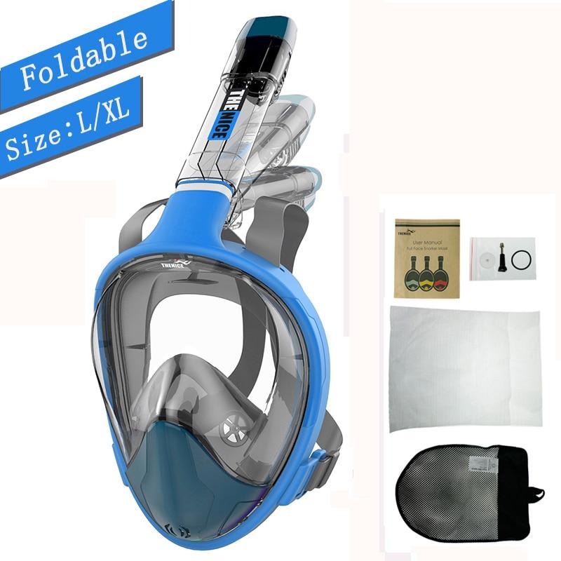 Masque de plongée tuba pliant plongée sous-marine chasse masque de plongée pour plongée anti-buée masque facial pour natation équipement de plongée