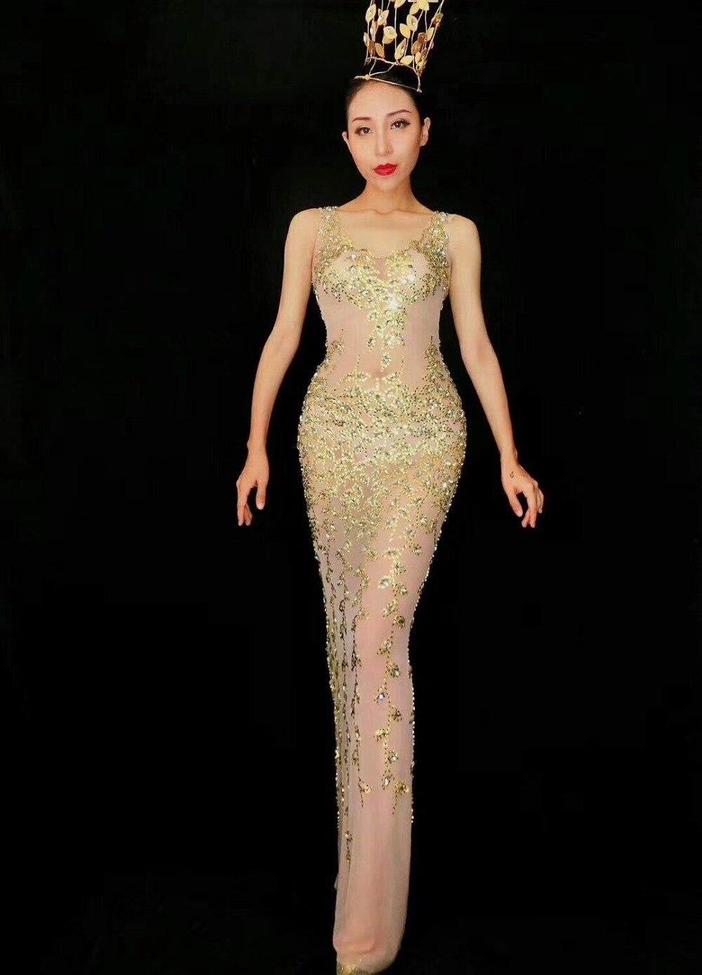 2019 femmes nouvelle mode brillant RhinestonesNet fil Transparent Cool Sexy longue robe femme chanteuse célébrer tenue de soirée robe - 4