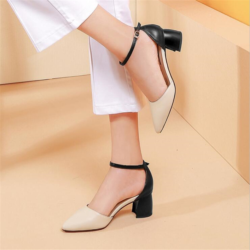 ZOUDKY Leather thin and pointed hollow Rough and pointed buckle four seasons shoes