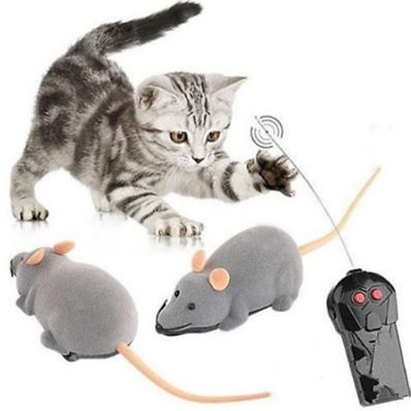 2018 Rolig Pet Cat Toy Trådlös RC Rat Mus Toy Remote Control Katten Speelgoed Katt Toy Set Freeshipping Drop Ship