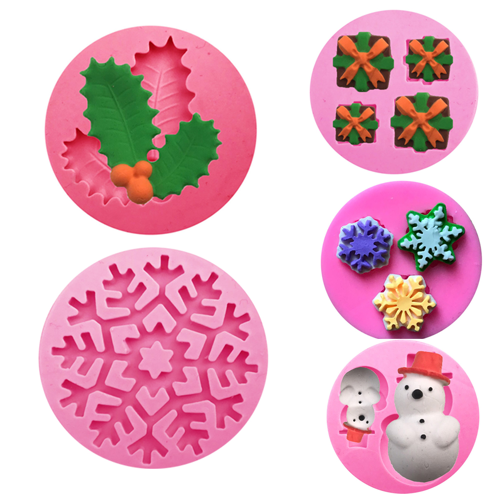 Mould Chritmas Silicone Mold Leaves Snowman Snowflake Gift Fondant DIY Cake Decorating For Bisuit Chocolate Candy Kitchen Tools