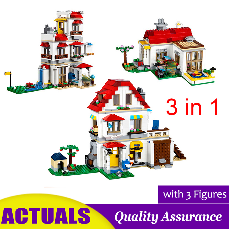 3 In 1 Modular Family Villa Compatible 31069 33077 Creator Building Block Brick House Garden Model