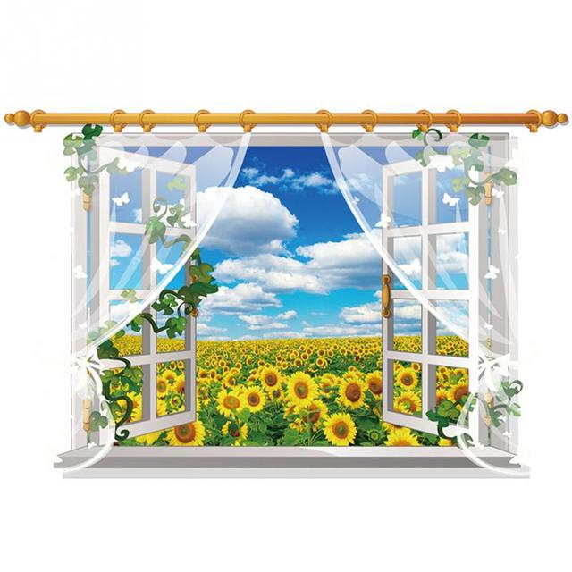 3D Window View Nature Landscape Wall Sticker  For Living Room