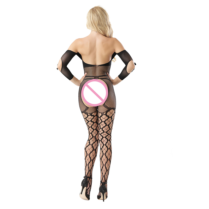 Open Crotch Long Sleeve Bodystocking Tights Lace  Bow Fishnet Mesh Grid Net Stockings Lingeries Wild Sex Tempted Woman Under Dress (5)