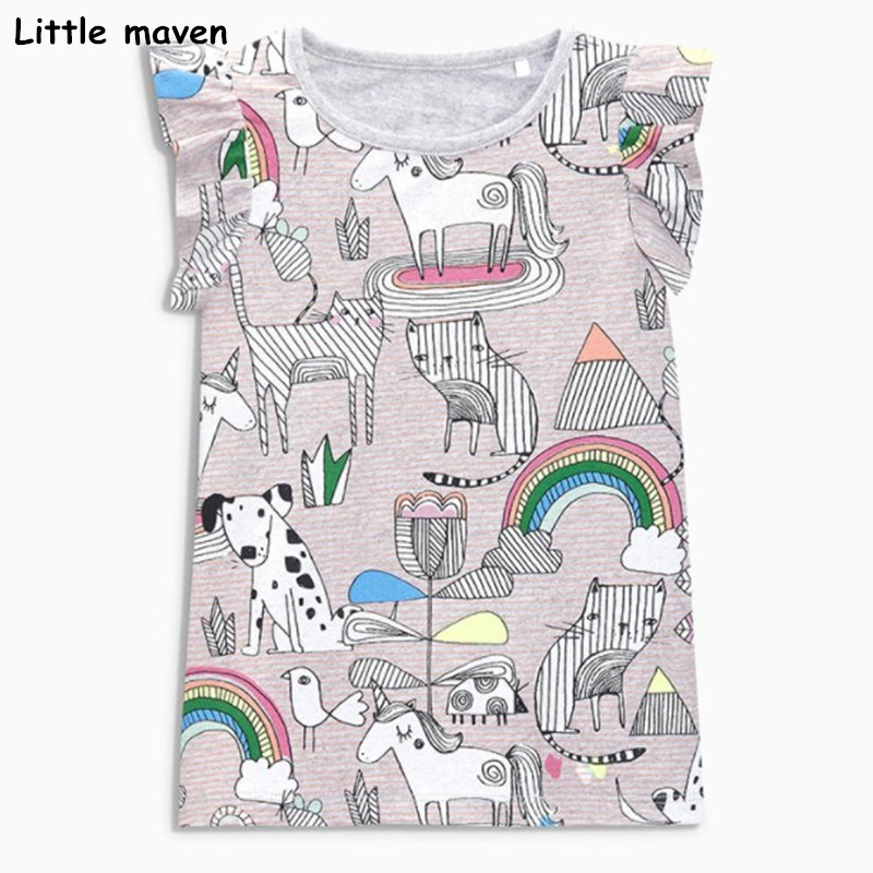 Little maven children clothes 2018 summer baby girls clothes short sleeve tee tops Animal print Cotton brand t shirt 50979 trendy men s round neck geometric print short sleeve t shirt
