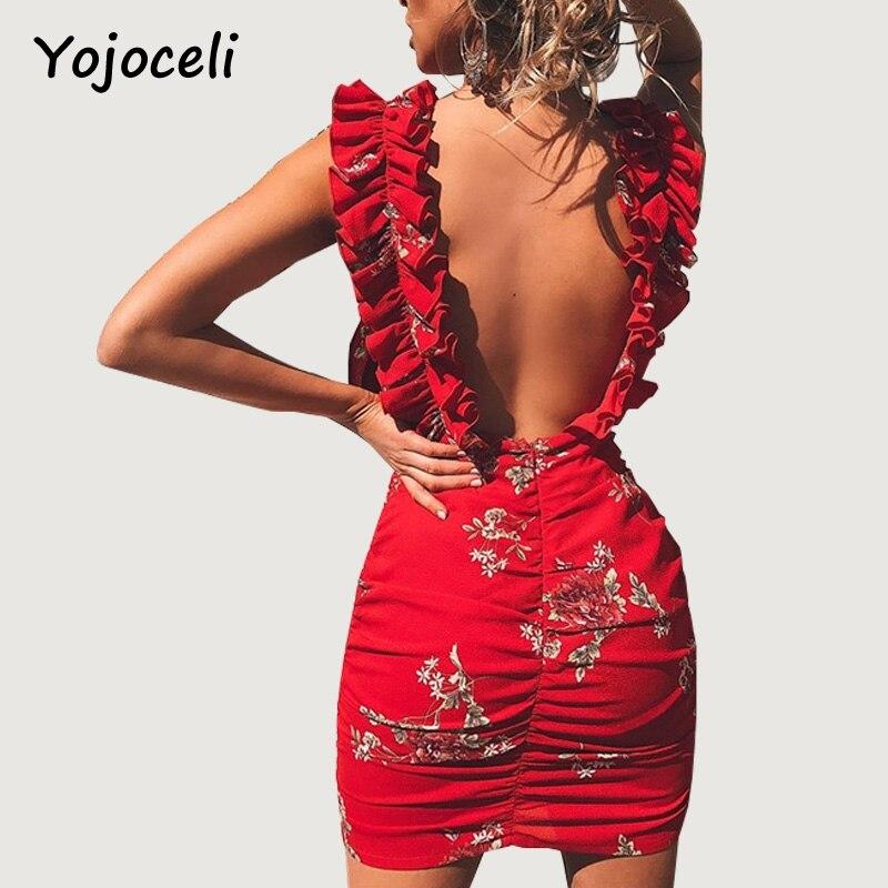 Yojoceli Chic Floral Print Deep V Neck Bodycon Dress Women Ruffled Mini Short Dress Club Party Wear Female Dress