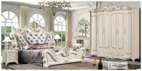 modern european solid wood bed Fashion Carved leather french bedroom set furniture king size HC001