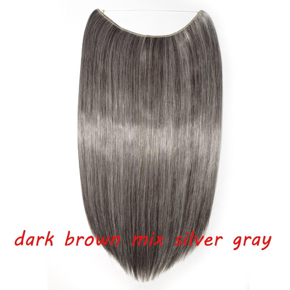 S-noilite 20 дюймов невидимый провод без заколки для волос Расширения секретная Рыбная линия шиньоны шелковистые прямые настоящие натуральные синтетические - Цвет: 4A mix silver gray