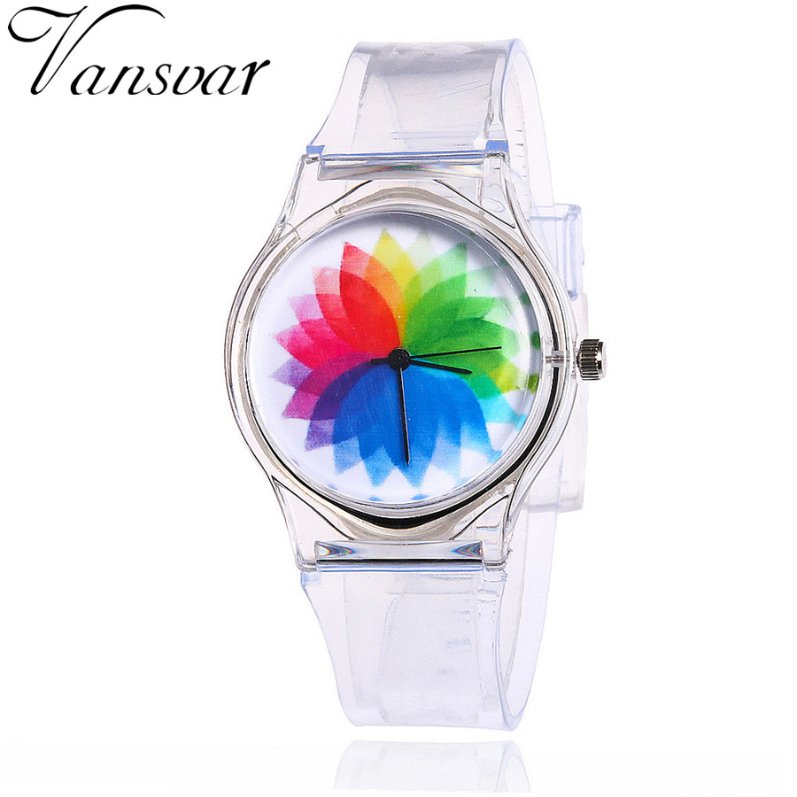 Vansvar Brand Fashion Jelly Silicone Transparent Plastic Kids Watches Lovely Cute Unique Children Students Watch Gift 2097