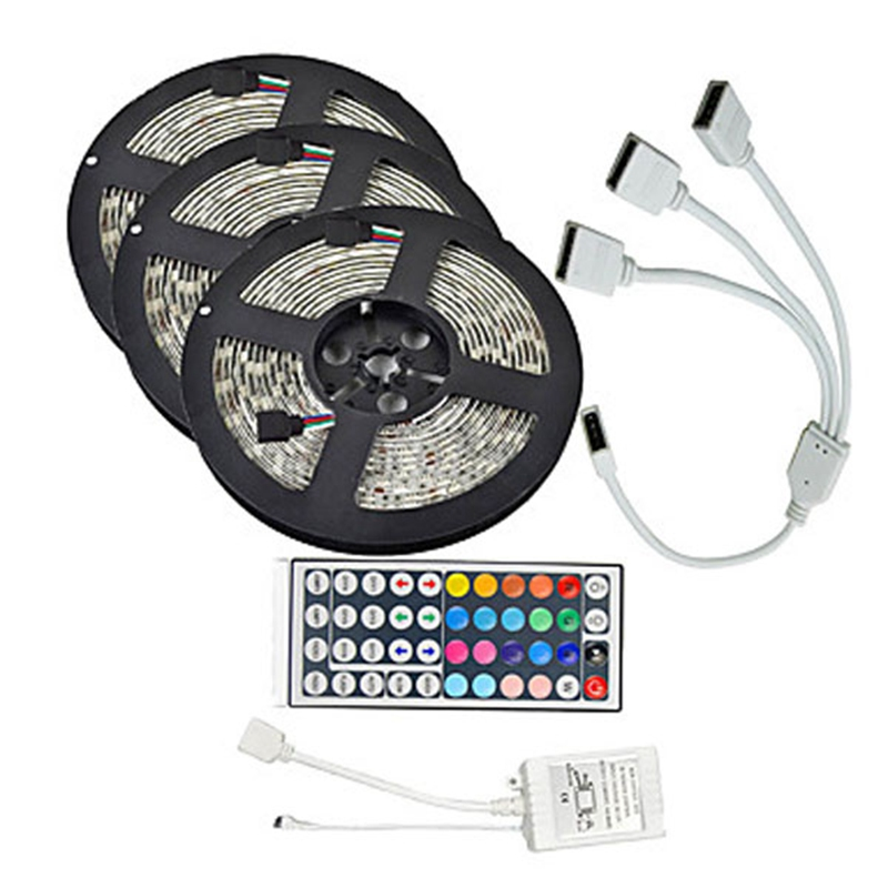 15meters smd5050 waterproof rgb 450 led strip tape light kit 44 keys controller cable. Black Bedroom Furniture Sets. Home Design Ideas