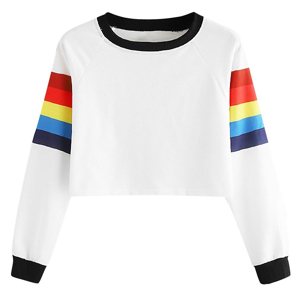 Women Long Sleeve Rainbow Stripe Sweatshirt Casual Female O Neck Pullover LGBT Hoodie AG2R La Mondiale 2019