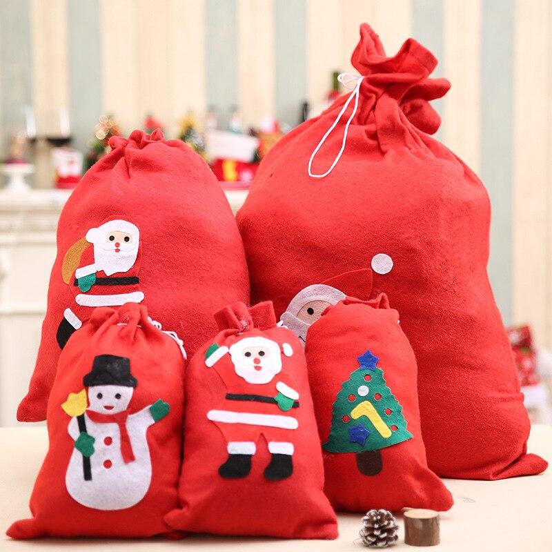 2018 Women Man Drawstring Bag Packing Bag Santa Claus Small Big Christmas Gift Bags Kids Party New Year Gift Holders Bag