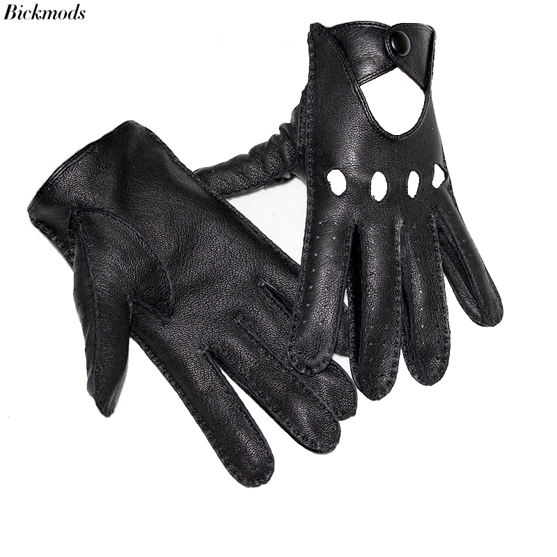 New Men Leather Gloves Thin Style Hollow Breathable Driving Unlined Outdoor Riding Hand-stitched Leather Driver Gloves