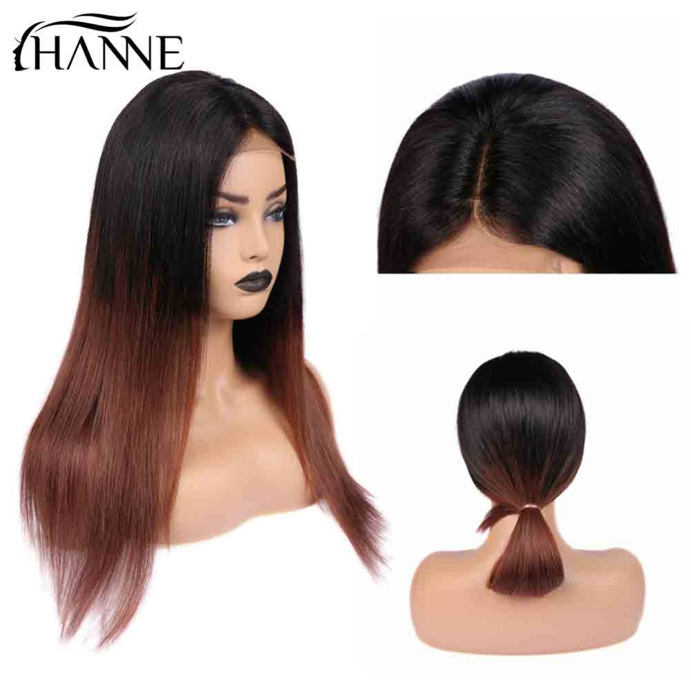HANNE 4*4 Lace Closure Wigs For Black/White Women 150% Hair Brazilian Human Hair Wig Straight Ombre 1B/33 Color Remy Human Wigs