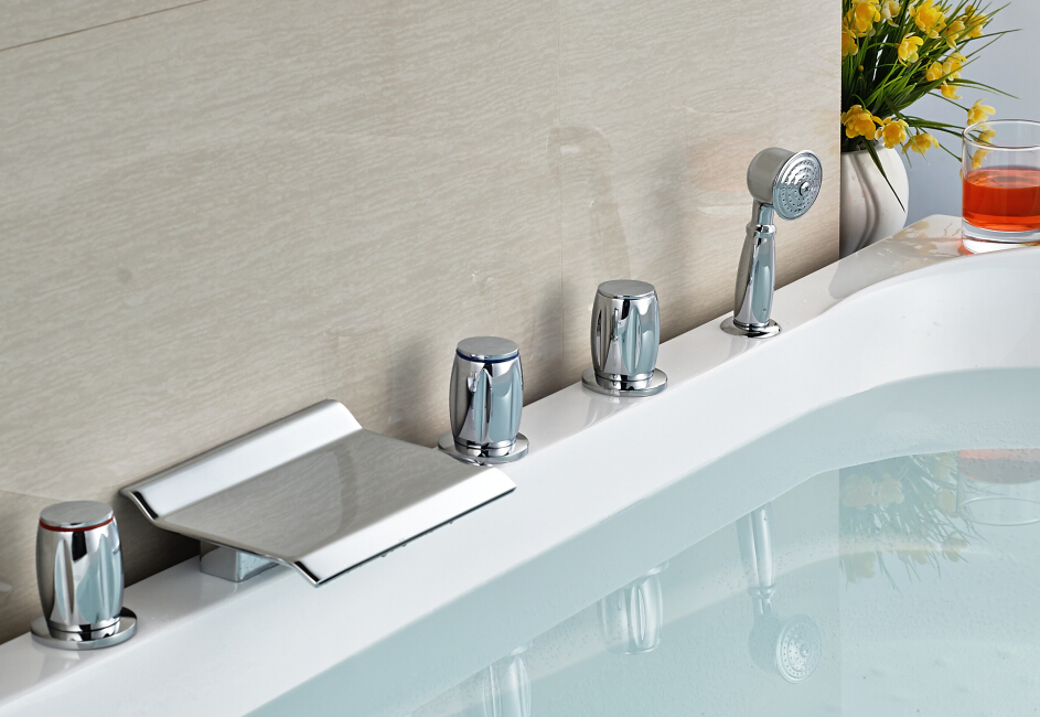 New Style Chrome 5pcs Widespread Tub Filler Faucet with Hand Sprayer