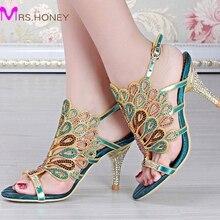 Sheepskin Summer Sandals Plus size 34-44 Ladies 8cm Heel Blue Rhinestone Sandals Wedding Shoes Stiletto Heel Party Dress Shoes