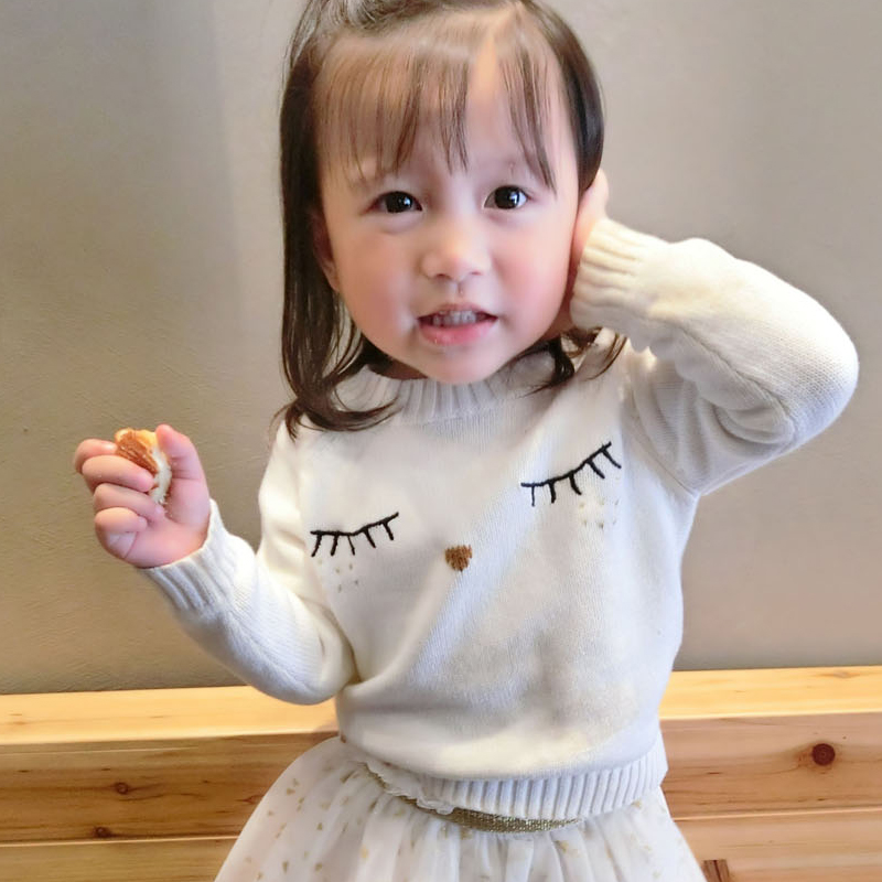 Mother and Daughter Clothes White Eyelash Sweaters Family Matching Outfits Sweaters for Mom and Kids Fashion Cardigan Sweaters