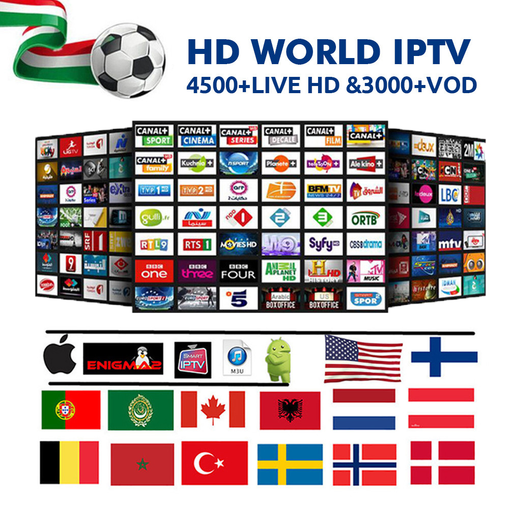 Smart TV HD 4 K IPTV abonnement Portugal UK USA italie français espagne suède iptv 1/2 an pour android tv box smart ip tv box m3u