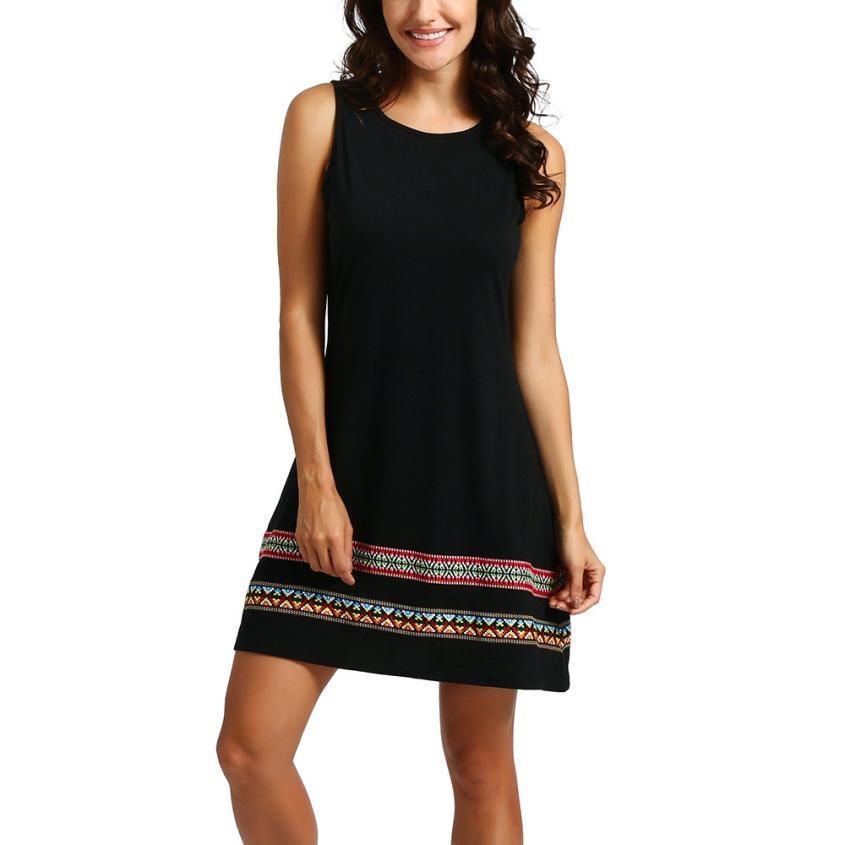 Women Vintage Dress O Neck Sleeveless Embroidery Summer Dresses Ladies Black Shift Dress Femininas  #10