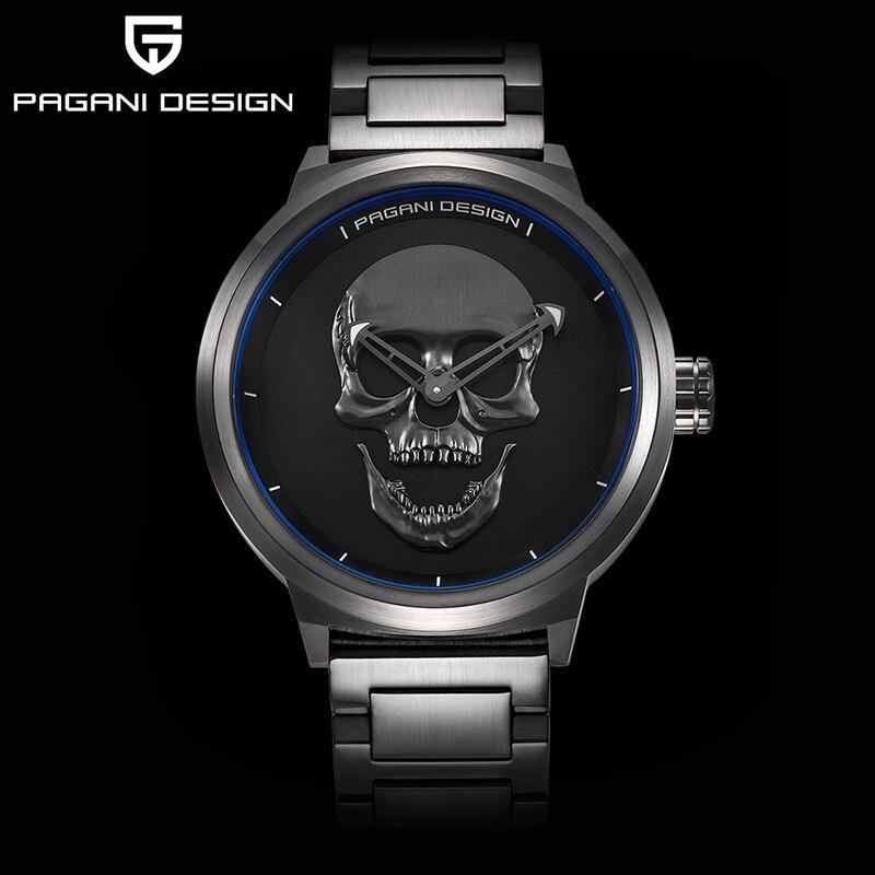 PAGANI бренд дизайн панк череп 3D Личность часы большой циферблат Ретро дизайн Мужская мода кварцевые водостойкие часы сталь Часы