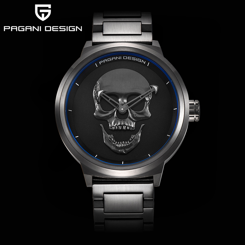 PAGANI brand design punk skull 3D personality watch large dial retro design men's fashion quartz waterproof watch steel watch
