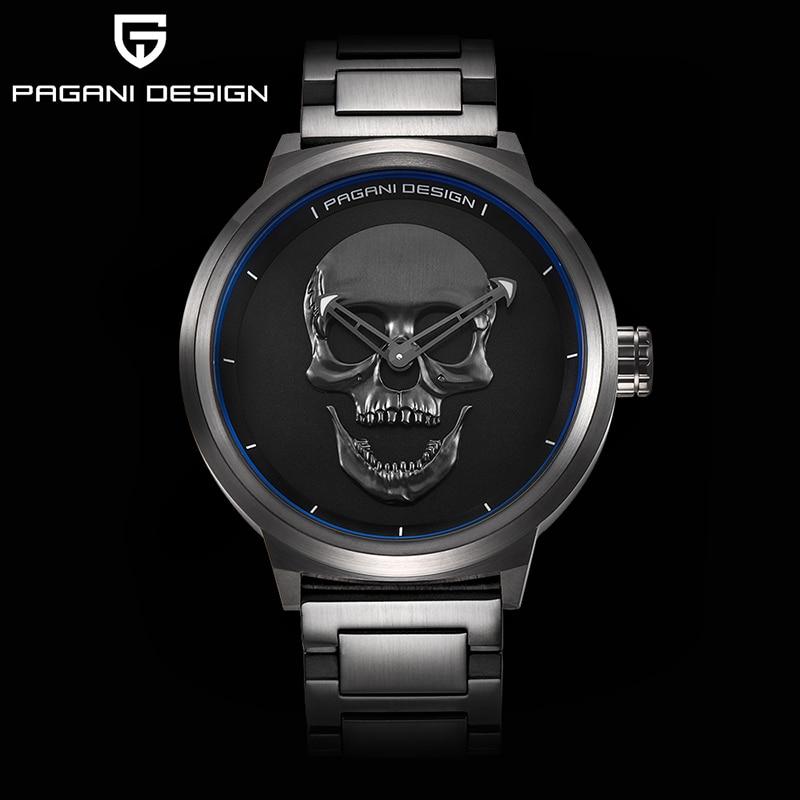 PAGANI marca de design do punk crânio 3D personalidade relógio mostrador grande design retro moda quartzo dos homens relógio relógio de aço à prova d' água