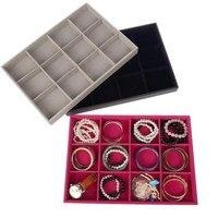 12 Grid Velvet Leather Wood Jewelry Bracelet Bangle Earring Ring Tray Display Organizer Holder Box Storage