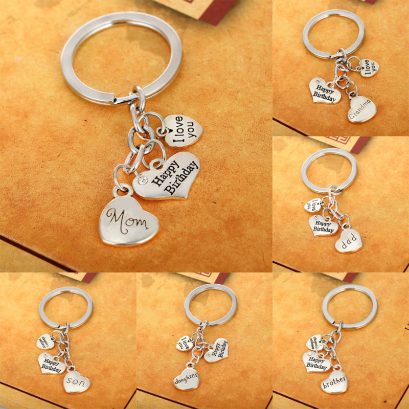 New Happy Birthday Family Key Chain Ring Heart Crystal Keychain Silver Keyring Jewelry Charm Mom Dad Love Uncle Brother Daughter mariposa en plata anillo