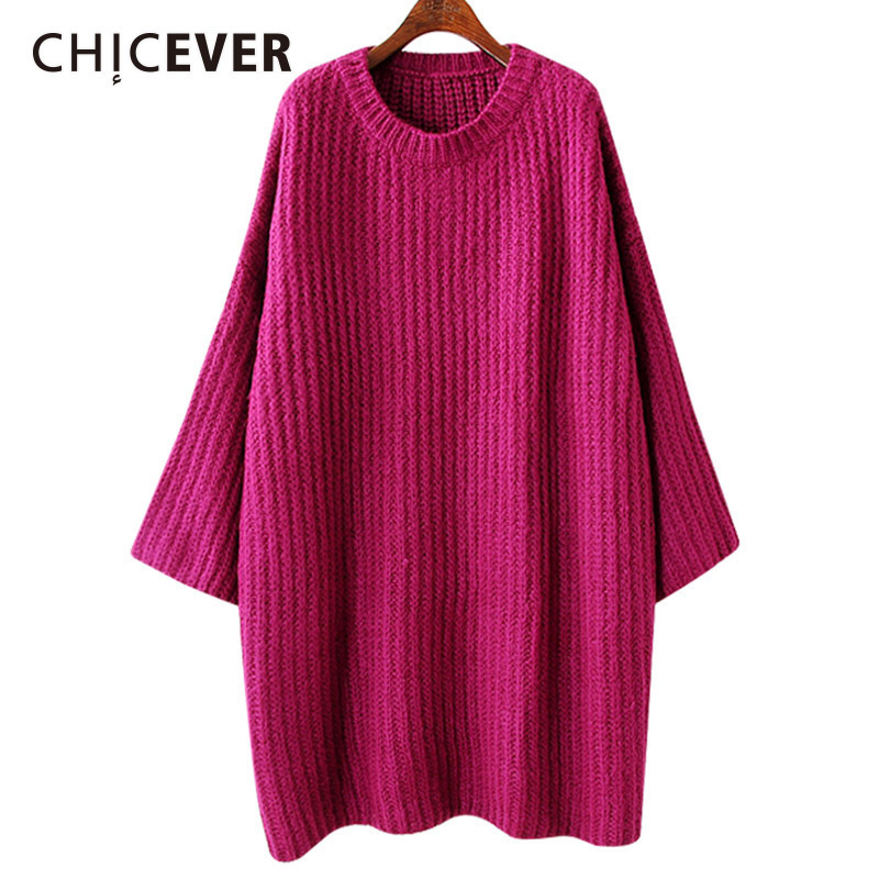 CHICEVER Winter Knitting Pullovers Female Sweater For Women Flare Sleeve Loose Big Size Sweaters Jumper Clothes Fashion 2017
