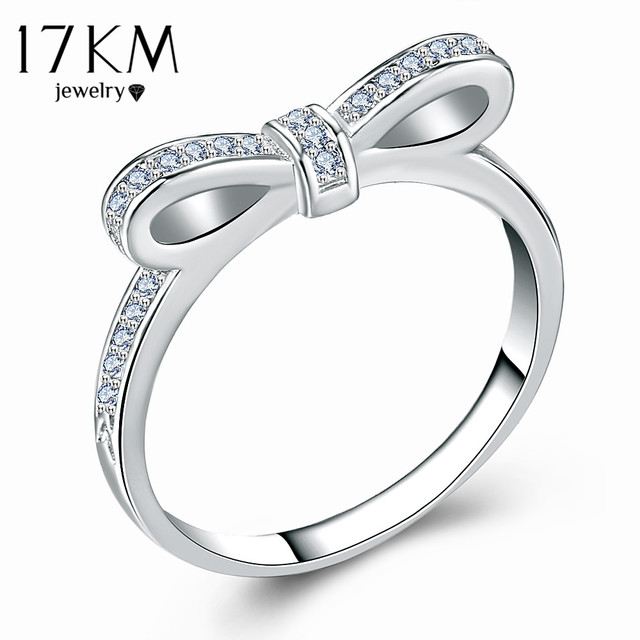 17KM Fashion Cubic Zirconia Bow Knot Rings For Women New Design Statement Ring Female Engagement Wedding Jewelry Party Gift