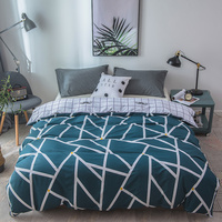 100% Cotton Duvet Cover Twin Full Queen Size Gray Striped Grid Quilt Case Stylish Rectangle Pattern Duvet Covers Super King Size