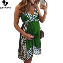 Chivry 2019 Women Casual Breastfeeding Pregnency Dress Sleeveless Nursing Stripe V-neck Cami Vestidos Maternity Women Dress double v neck cami dress