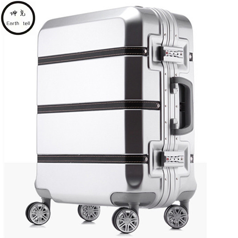 20/24/28 inch spinner PC PU splice rolling luggage bag hardside cabin trolley suitcase case Aluminum frame brushed travel box creative multifunction rolling luggage spinner men business travel bag aluminum frame suitcase wheels 20 inch cabin trolley