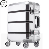 20/24/28 inch spinner PC PU splice rolling luggage bag hardside cabin trolley suitcase case Aluminum frame brushed travel box