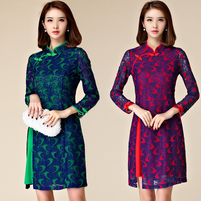 M~3XL Plus Size NEW Chinese Ladies Sexy Vintage Elegant Lace Cheongsam  Qipao Short Evening Party Women Tang Suit Dress Vestidos 0b3eb9a91e2d